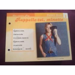 """FICHE FASCICULE """"PAROLES DE CHANSONS"""" PATRICK JUVET rappelle toi minette 1973 collection occasion"""