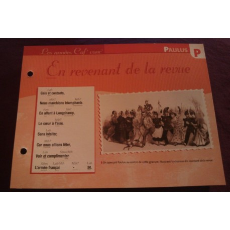 """FICHE FASCICULE """"PAROLES DE CHANSONS"""" PAULUS en revenant de la revue 1886"""