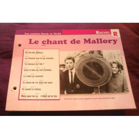 """FICHE FASCICULE """"PAROLES DE CHANSONS"""" RACHEL le chant de Mallory 1964"""