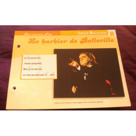 "FICHE FASCICULE ""PAROLES DE CHANSONS"" SERGE REGIANI le barbier de Belleville 1977"