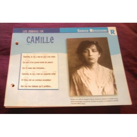 "FICHE FASCICULE ""PAROLES DE CHANSONS"" SERGE REGIANI Camille 1989"