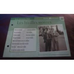 """FICHE FASCICULE """"PAROLES DE CHANSONS"""" YVES MONTAND les feuilles mortes 1946"""