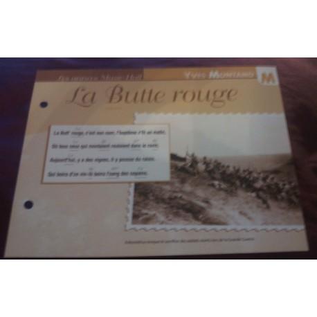 """FICHE FASCICULE """"PAROLES DE CHANSONS"""" YVES MONTAND la butte rouge 1923"""