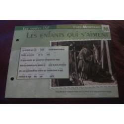 """FICHE FASCICULE """"PAROLES DE CHANSONS"""" YVES MONTAND les enfants qui s'aiment 1946"""