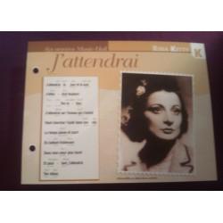 """FICHE FASCICULE """"PAROLES DE CHANSONS"""" RINA KETTY j'attendrai 1938"""