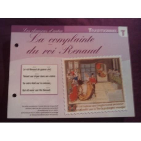 """FICHE FASCICULE """"PAROLES DE CHANSONS"""" TRADITIONNEL la complainte du roi renaud XVI ème siècle"""