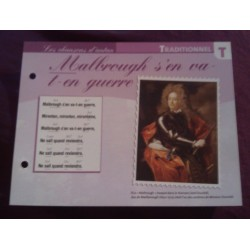 """FICHE FASCICULE """"PAROLES DE CHANSONS"""" TRADITIONNEL malbrough s'en va en guerre 1709 collection occasion"""