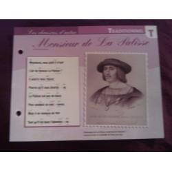 """FICHE FASCICULE """"PAROLES DE CHANSONS"""" TRADITIONNEL monsieur de la palisse XVIII eme sièclev collection occasion"""