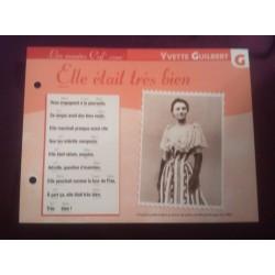 """FICHE FASCICULE """"PAROLES DE CHANSONS"""" YVETTE GUILBERT elle était très bien 1891 collection occasion"""