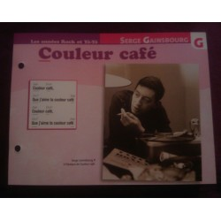 "FICHE FASCICULE ""PAROLES DE CHANSONS"" SERGE GAINSBOURG couleur café collection occasion"