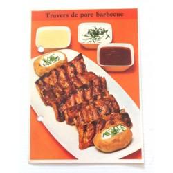 """FICHE CUISINE de ELLE vintage rétro par Madeleine Peter """"travers de porc barbecue"""""""