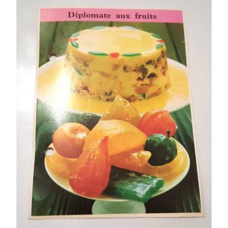"""FICHE CUISINE de ELLE vintage rétro par Madeleine Peter """"diplômate aux fruits"""""""