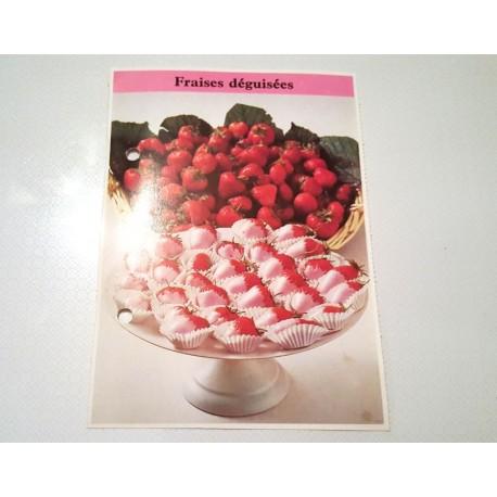"""FICHE CUISINE de ELLE vintage rétro par Madeleine Peter """"fraises déguisées"""""""