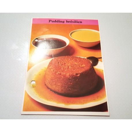 """FICHE CUISINE de ELLE vintage rétro par Madeleine Peter """"Pudding Brésilien """""""