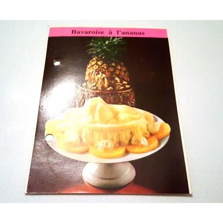 """FICHE CUISINE de ELLE vintage rétro par Madeleine Peter """" Bavaroise à l'ananas """""""