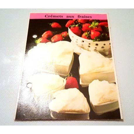 """FICHE CUISINE de ELLE vintage rétro par Madeleine Peter """"Crémets aux fraises """""""