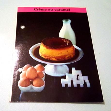 """FICHE CUISINE de ELLE vintage rétro par Madeleine Peter """"Crème au caramel"""""""