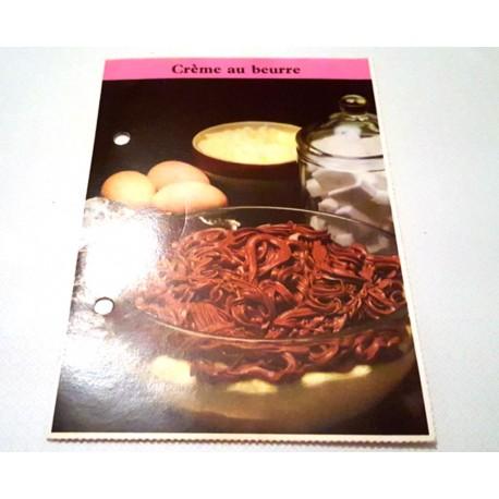 """FICHE CUISINE de ELLE vintage rétro par Madeleine Peter """"Crème au beurre"""""""