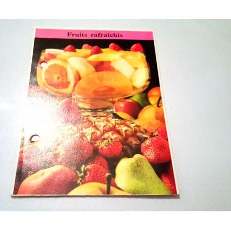 """FICHE CUISINE de ELLE vintage rétro par Madeleine Peter """"Fruits rafraîchis"""""""