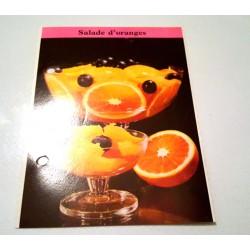 """FICHE CUISINE de ELLE vintage rétro par Madeleine Peter """"Salade d'oranges"""" collection occasion"""