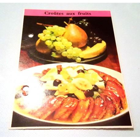 """FICHE CUISINE de ELLE vintage rétro par Madeleine Peter """"Croûtes aux fruits"""""""