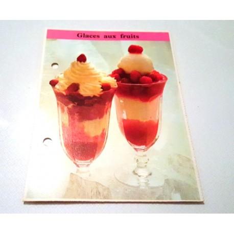 """FICHE CUISINE de ELLE vintage rétro par Madeleine Peter """"Glaces aux fruits"""""""