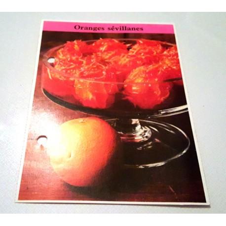 """FICHE CUISINE de ELLE vintage rétro par Madeleine Peter """"Oranges Sévillanes"""""""