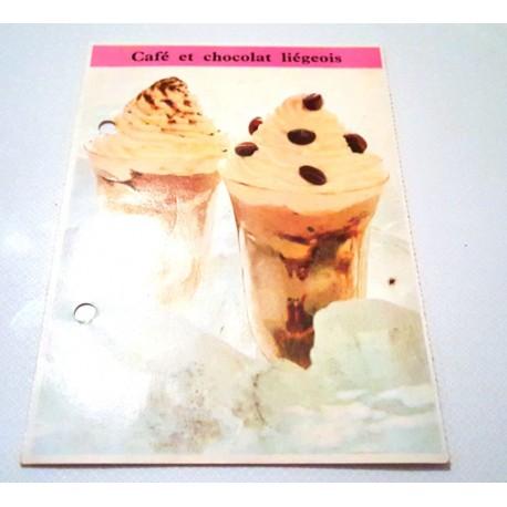 """FICHE CUISINE de ELLE vintage rétro par Madeleine Peter """"café et chocolat liégeois"""""""