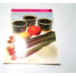 """FICHE CUISINE de ELLE vintage rétro par Madeleine Peter """"Marmelade de rhubarbe"""""""