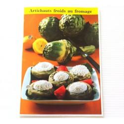 """FICHE CUISINE de ELLE vintage rétro par Madeleine Peter """"Artichauts froids au fromage"""""""