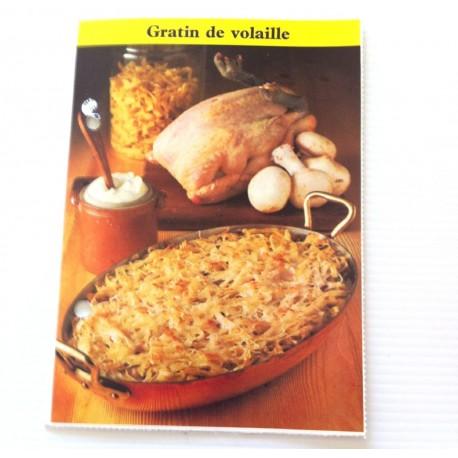 """FICHE CUISINE de ELLE vintage rétro par Madeleine Peter """"Gratin de volaille"""""""