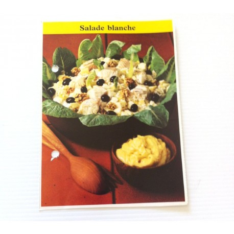 """FICHE CUISINE de ELLE vintage rétro par Madeleine Peter """"Salade blanche"""""""