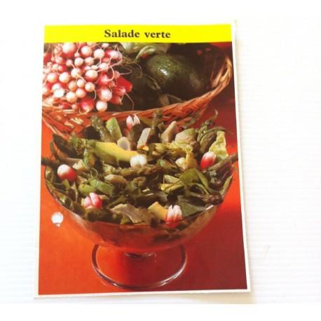 """FICHE CUISINE de ELLE vintage rétro par Madeleine Peter """"Salade verte"""""""