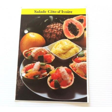 """FICHE CUISINE de ELLE vintage rétro par Madeleine Peter """"Salade Cote-d'Ivoire"""""""