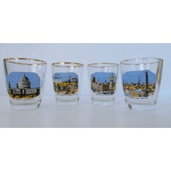 Lot de 4 verres a liqueurs collection london contour doré a l'or fin tbe
