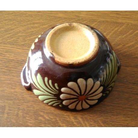 Collection !! très ancien bol a oreilles céramique barbotine