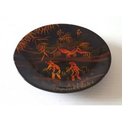 Ancienne déco a poser ramasse monnaie motif chinois matière plastifié