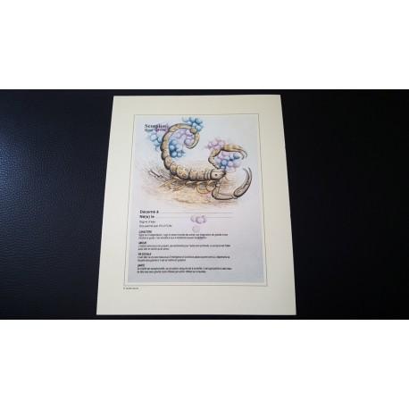 Diplome signe astrologique - Zodiaque - Scorpion - idée cadeau anniversaire fête Neuf