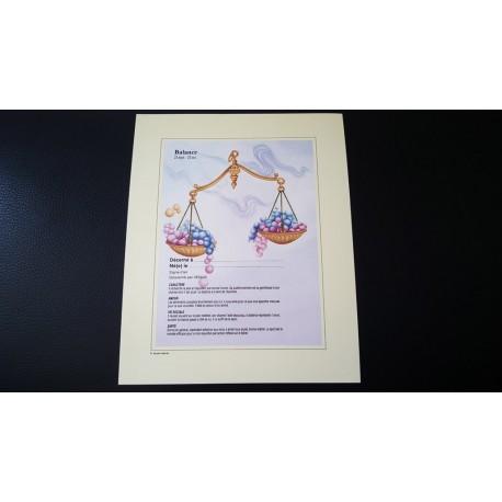 Diplome signe astrologique - Zodiaque - Balance - idée cadeau anniversaire fête Neuf
