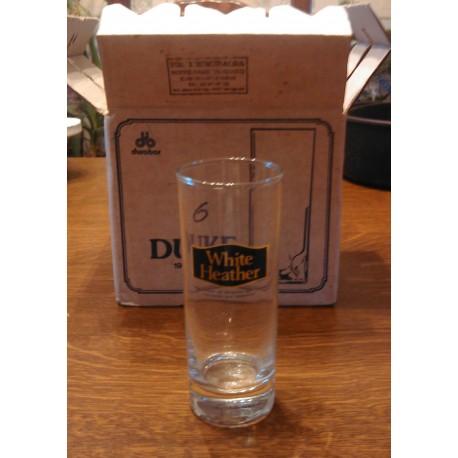 Lot de 6 ancien verre bistrot a whisky white heather + carton d'origine marque durobor 19 cl