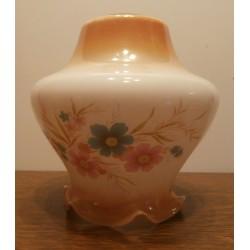 Ancien verre globe de lustre tulipe lampe en opaline Lampe pigeon pétrole / huile opaque motif fleurs marron/blanc