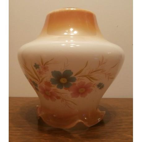 Ancien verre globe de lustre tulipe lampe en opaline Lampe pigeon pétrole huile opaque fleurs