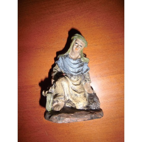 Santon crèche femme - Noël décoration résine neuf