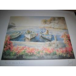 POSTER DÉCORATIF (35x25cm) PITT JANY SÉRIE MER N°4 vue du balcon sur la mer NEUF