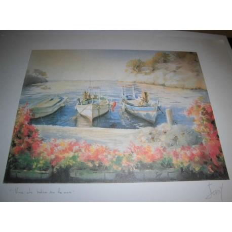 POSTER DÉCORATIF (35x25cm) PITT JANY SÉRIE MER N°4 vue du balcon sur la mer