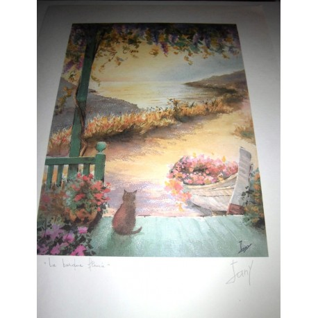 POSTER DÉCORATIF (35x25cm) SÉRIE JANY N°2 la barque fleurie