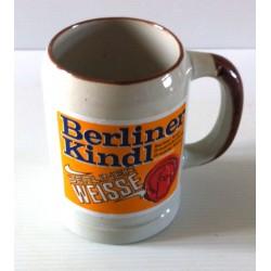 "Ancienne tasse verre chope en grès avec anse bière "" BERLINER KINDL WEISSE"" neuve"