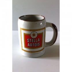 """Ancienne tasse verre chope en grès avec anse bière """" STELLA ARTOIS"""" neuve"""