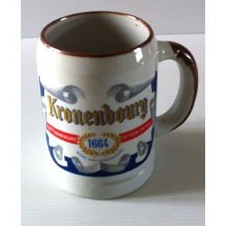 """Ancienne tasse verre chope en grès avec anse bière """" KRONENBOURG 1664"""" neuve"""