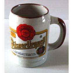 """Ancienne tasse verre chope en grès avec anse bière """" PILSNER URQUELL"""" neuve"""